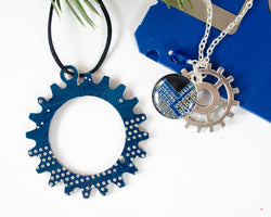 blue circuit board gear ornament and coordinating charm necklace