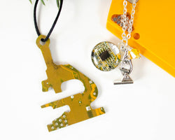 yellow circuit board ornament and coordinating microscope charm necklace
