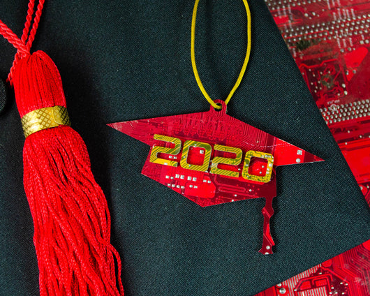 Handmade graduation cap ornament made from recycled circuit boards for 2020
