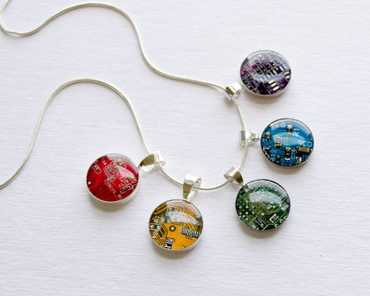rainbow colorful circuit board pendants