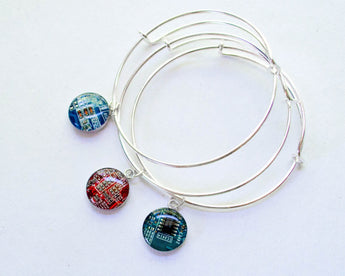 colorful expandable circuit board bangle bracelets