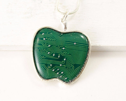 Circuit Board green Apple Necklace