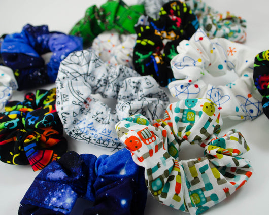 handmade science STEM scrunchies'