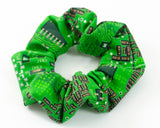 handmade green circuit board scrunchie