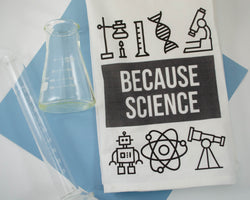 because science printed kitchen towl featuring design with beaker, dna, microscope, robot, atom, and telescope