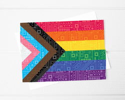 inclusive pride flag circuit board greeting card