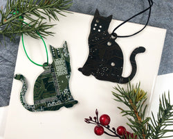 handmade cat shaped ornament made from upcycled circuit boards