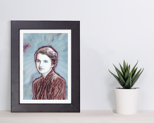 geometric matted art print of women in science rosalind franklin