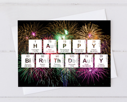 happy birthday periodic table of elements card with fireworks