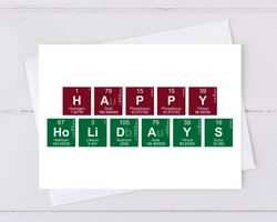 happy holidays spelled out in periodic table elements