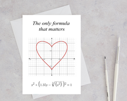 heart card featuring a mathematical equation