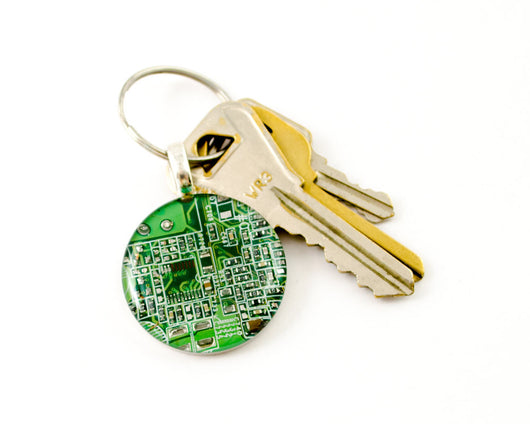 green recycled circuit board keychain