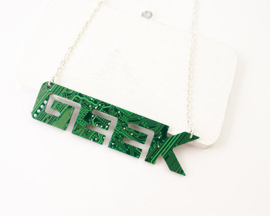 geek word necklace in circuit board