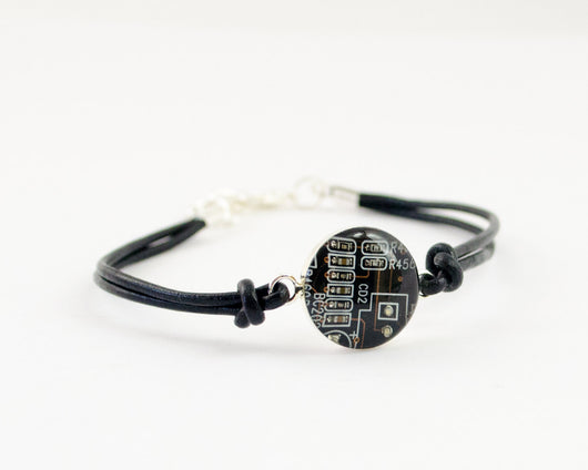 brown circuit board leather bracelet