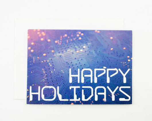 blue happy holidays greeting card