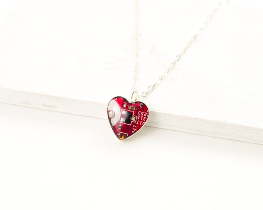 red circuit board silver heart necklace