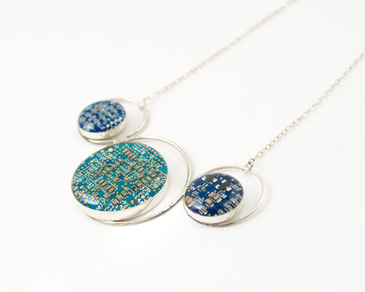 Blue Circuit Board Necklace - Sterling Silver Statement Jewelry -  Luxury Gift