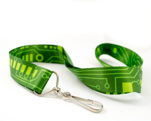 printed green circuit board lanyard