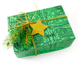 circuit board gift box with ornament gift topper