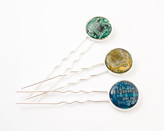 recycled circuit board hair pin assortment