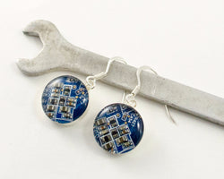 blue circuit board earrings sterling silver