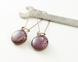 copper circuit board earrings