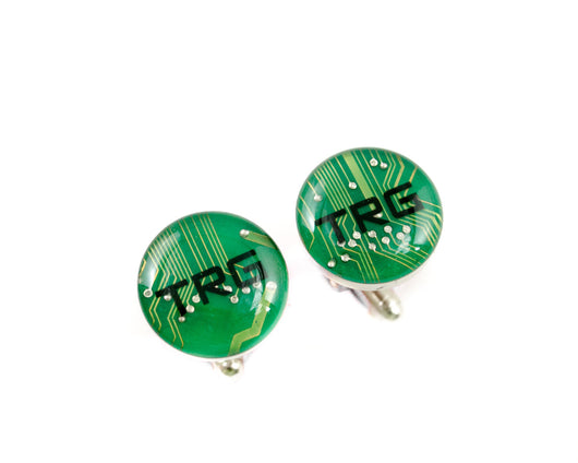 monogrammed green circuit board cufflinks