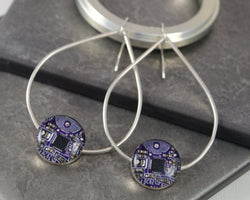 sterling silver statement purple circuit board earrings