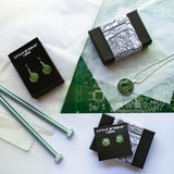 Small Circuit Board Heart Post Earrings