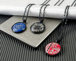 multi colored masculine circuit board necklaces