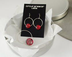 red sterling silver artisan jewelry gift set