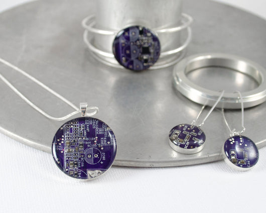 necklace, earring, and bracelet circuit board jewelry set