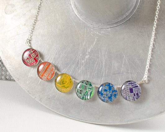 six piece rainbow circuit board necklace
