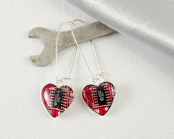 red recycled circuit board heart silver dangle earrings