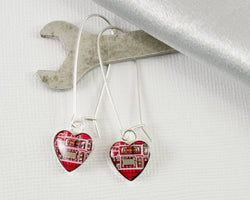 red sterling silver heart circuit board earrings