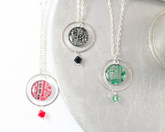 Circuit Board Orb Necklace