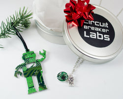 circuit board robot ornament and necklace gift set