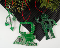 set of three green circuit board ornaments of a desktop computer, a robot, and a USB symbol for engineers