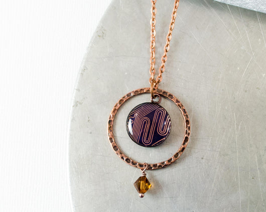 copper circuit board kinetic orb necklace