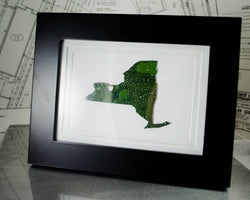 new york state green circuit board framed state wall art