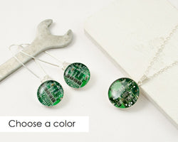 upcycled circuit boards turned into a handmade necklace and earrings set