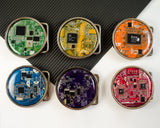 rainbow circuit board round belt buckle