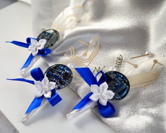 blue circuit board ribbon Boutonnieres