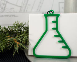 green acrylic erlenmeyer flask ornament
