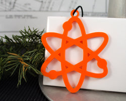 orange acrylic laser cut handmade atom ornament