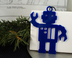 blue acrylic robot ornament