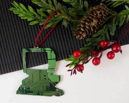 handmade green circuit board computer ornament with holiday decor