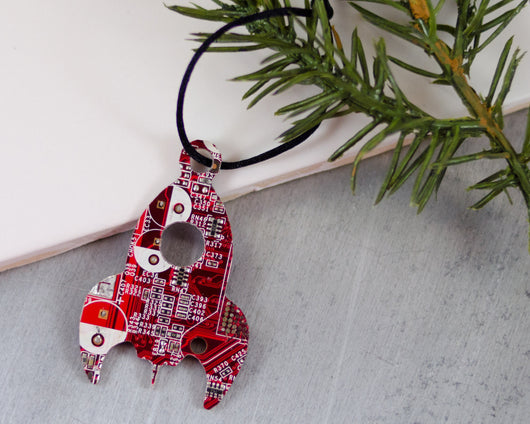 red recycled circuit board rocket ornament