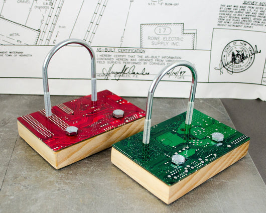 Circuit board business card holder circuitbreakerlabs red and green desktop industrial business card holder circuit colourmoves
