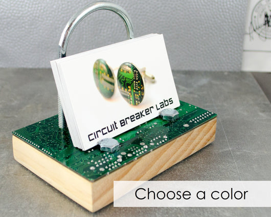 wood, steel, and circuit board industrial business card holder